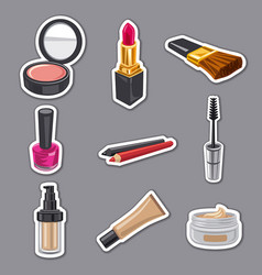 cometics and make up stickers set vector image