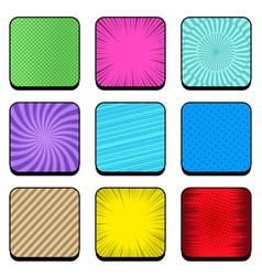 comic colorful rounded squares set vector image