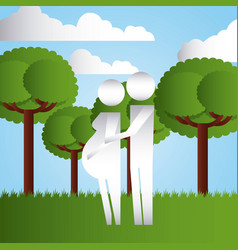 Couple pregnancy in the park family protection vector