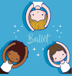 Cute ballet boys cartoons vector