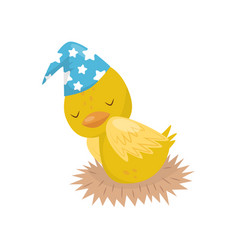 cute little yellow duckling character in blue hat vector image