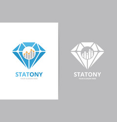 diamond and graph logo combination jewelry vector image