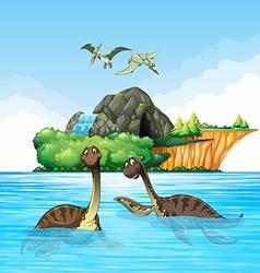 Dinosaurs living in the ocean vector