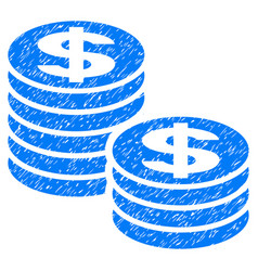 Dollar coin stacks grunge icon vector