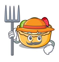 Farmer fruit tart character cartoon vector
