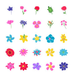 floral flat icons vector image