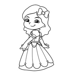 girl dressed as princess in blue dress bw vector image
