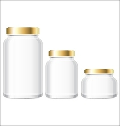 Glass Jars Bottles mockup Small Medium Large vector image