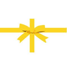 Gold bow cartoon yellow ribbon satin bow for xmas vector