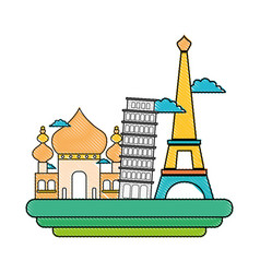 Grated taj mahal and leaning tower of pisa with vector