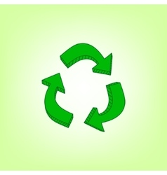 Green hand drawn recycle symbol vector image