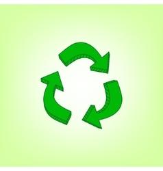 Green hand drawn recycle symbol vector image