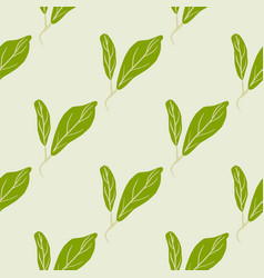 Green leaves diagonal ornament doodle seamless vector