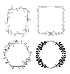 hand drawn flora frame set vector image