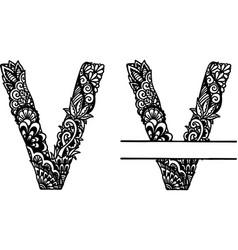 Hand drawn letter v vector