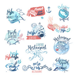 Hand drawn watercolor labels and signs of seafood vector