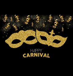 Happy carnival gold glitter mask costume design vector