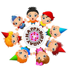 happy kids celebrating birthday vector image