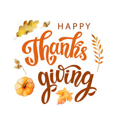happy thanksgiving text with watercolor vector image