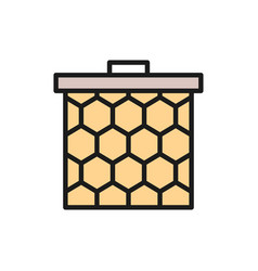 honeycomb frame flat color line icon vector image