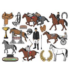 Horse race polo sport and jockey equipment vector