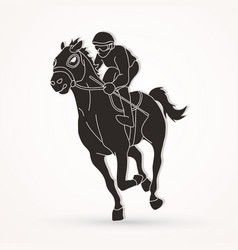 Horse racing jockey riding horse graphic vector