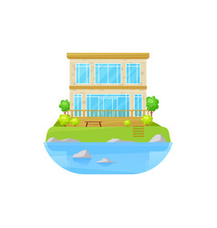 House at lake villa mansion water cottage home vector