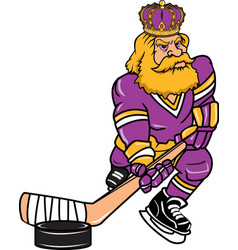 king sports logo mascot hockey vector image