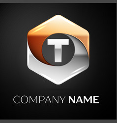 letter t logo symbol in the colorful hexagonal on vector image