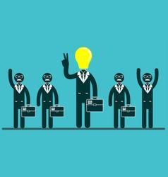Light bulb headed businessmen in the center of a vector