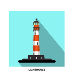 Lighthouse flat design symbol beacon icon vector