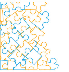 line puzzle pieces game background design vector image