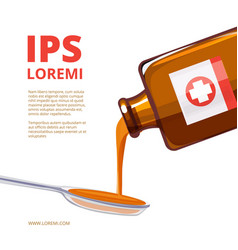 liquid medicine in a spoon vector image