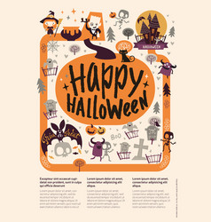 lovely holiday happy halloween flyer template vector image
