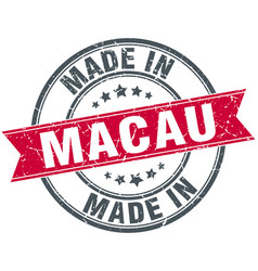 Made in macau red round vintage stamp vector