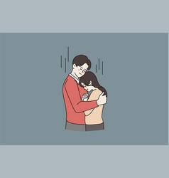 Man hug comfort unhappy young woman vector
