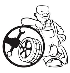 Master of repair of tires vector