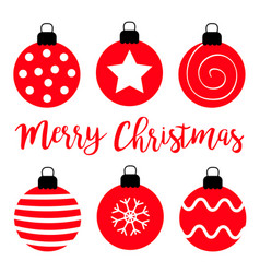 merry christmas ball set red round and black vector image