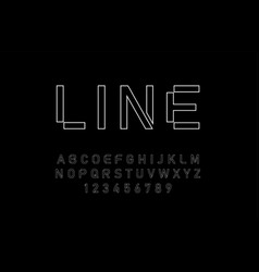 modern alphabet thin line fonts and numbers vector image