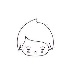 Monochrome silhouette of kawaii head of little boy vector