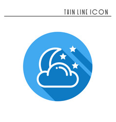 Moon night line simple icon weather symbols vector