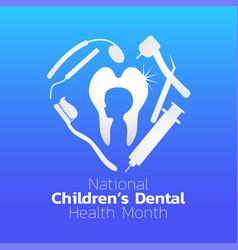 national children dental health month icon design vector image