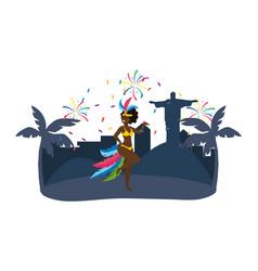native woman dancing celebrating brazil carnival vector image