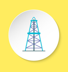 oil derrick icon in flat style on round button vector image