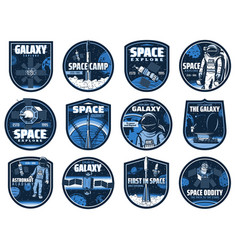 Outer space icons with glitch effect set vector
