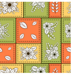 pattern with squares flowers and branches vector image