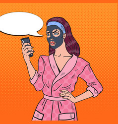 pop art pretty woman in facial cosmetic black mask vector image