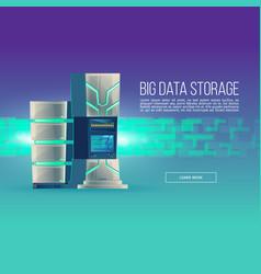Poster of cartoon data center database vector
