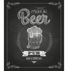 Poster with Beer in mag Chalk drawing vector