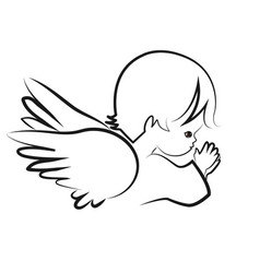 Praying angel child believe icon vector